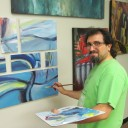 Artist Mohamad Bazzi at the 12 on 12 Art Gallery in Dearborn